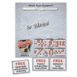 "3 Coupon Memo Board - 11"" x 8.75"" memo board with magnetic back, write-on/wipe-off surface, wet erase pen, clip and 3 perforated coupons on the side."
