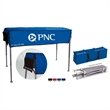 """Tailgate and Display Table - 61"""" x 22"""" polyester trade show table with retractable aluminum frame in carrying case."""