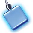 Light Up Necklace - Square - No Blink - Blue LED - Light up square necklace with blue LED, non-blinking. Blank.