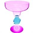 Light Up Margarita Glass - 12 oz - Fish Stem - Pink LED - Pink light up margarita glass with fish stem and LED, 12 oz. Blank.