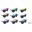 Black Frame Sunglasses w/Assorted Neon Temples - Black frame sunglasses with super dark lenses and assorted neon temples.