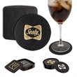 Atlantis Leather Round Coaster - Round cowhide leather coaster set. price including deboss/screen each 4 coasters