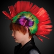 Punk Rock Mohawk Wig with Blinking Red LED