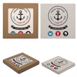 Square Absorbent Stone Coaster Duo - Set of two square shaped absorbent stone coasters with cork backing.