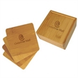 Bamboo Coasters 4 in Gift Box - 4 square bamboo coasters in bamboo gift box.