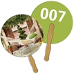 Round Auction Hand Fan Full Color - Digital printed round/ball shape auction fan with visible wooden stick.