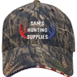 Camo Patriotic Cap - Cotton twill cap with stars and strips printed on sandwich.