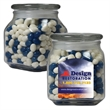Glass Apothecary Jar with Corporate Jelly Beans - Apothecary glass jar with corporate jelly beans candy.