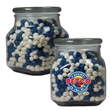 Large Glass Apothecary Jar with Corporate Jelly Beans Candy - Large glass apothecary candy jar with corporate color jelly beans candy.