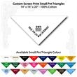 "Small Custom Print White Pet Triangle Bandanna - Custom print small white pet bandanna, 14""x14""x20"", 100% cotton, 5 star supplier."
