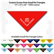 "Small Custom Print Pet Red Triangle Bandanna - Custom print small pet red bandanna, 14""x14""x20"",  100% cotton, 5 star supplier."