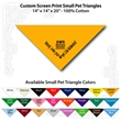 "Small Custom Print Pet Triangle Athletic Gold Bandanna - Custom print small pet athletic gold bandana,14x14x20"",100% cotton, 5 star supplier."
