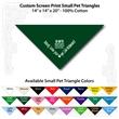 "Small Custom Print Pet Triangle Hunter Green Bandanna - Custom print small pet hunter green bandanna,14x14x20"",100% cotton, 5 star supplier."