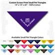 "Small Custom Print Pet Triangle PurpleBandanna - Custom print small pet purple bandanna, 14""x14""x20"", 100% cotton, 5 star supplier."