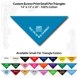 "Small Custom Print Pet Triangle Turquoise Bandanna - Custom print small pet turquoise bandanna, 14""x14""x20"",100% cotton, 5 star supplier."