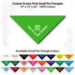 "Small Custom Print Pet Triangle Lime Green Bandanna - Custom print small pet lime green bandana,14""x14""x20"", 100% cotton, 5 star supplier."