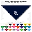 "Custom screen print Large Pet Triangle Navy Bandanna - Custom Print Large Pet Navy Bandanna, 22""x22""x29"",100% cotton, 5 star supplier."