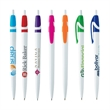 Electro Pen - White barrel retractable ballpoint pen with colored accents.