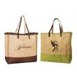 Jute Shopping/Beach Tote - Two tone Jute / Burlap Tote/ Beach Bag with leather handles.