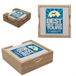 Absorbent Stone Square Coaster Set - Set of 4 square shaped stone coaster with cork backing and a natural wood holder.