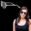 Plastic Frame Aviator Sunglasses - Plastic frame aviator sunglasses in white with smoky lenses.