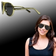Plastic Frame Aviator Sunglasses - Aviator style sunglasses with plastic frame, gold arms and smoky lenses.
