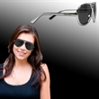 Plastic Frame Aviator Sunglasses - Aviator style sunglasses with plastic frame, silver arms and smoky lenses.