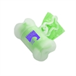 Clear Bone-Shaped Pet Waste Bag Dispenser - 1 Color Imprint - Clear bone shaped pet trash bag dispenser with 20 poly bags included and one-color/one-location pad printed imprint.