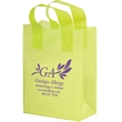 """Color Frosted Soft Loop Shopper Bag w/ Insert - Flexo Ink - Color Frosted Soft Loop Plastic Shopping Bags with Insert (10""""x5""""x13"""") - Flexo Ink"""