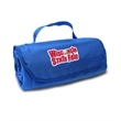 """Fleece Roll Up Travel Blanket - 47"""" x 53"""" fleece roll up blanket featuring a hook and loop closure with attached matching flap with pocket and handle."""