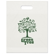 12W x 15H x 3 Eco Die Cut - 2.5 mil plastic bag with fold over die cut handles, recyclable.
