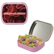 Candy Tin with Conversation Hearts - Valentines Day - Small pink candy tin filled with hearts for Valentines Day.  Great for Breast cancer awareness.