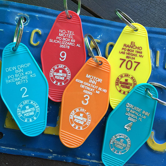 Classic Hotel Motel Key Tags or Key Chain