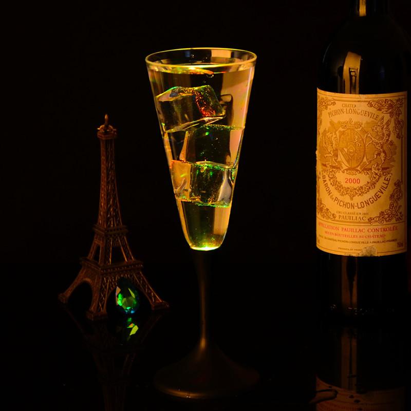 7 1/2 Oz. Custom LED Champagne Glass with Classy Black Base