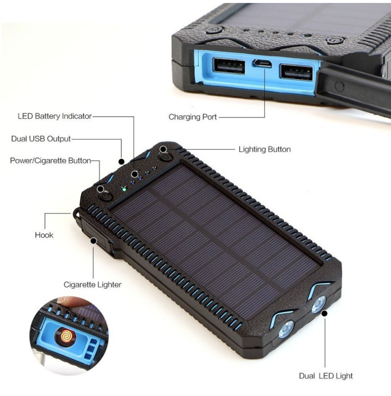 10000mAh Cigarette Lighter Outdoor Solar Power Bank