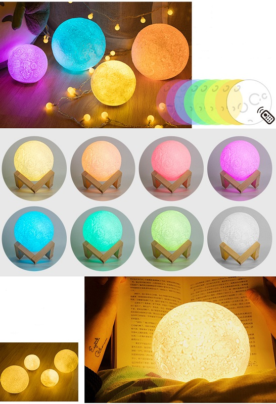 18cm 3D LED Night Light Buletooth Dimmable Remote Moon Lamp