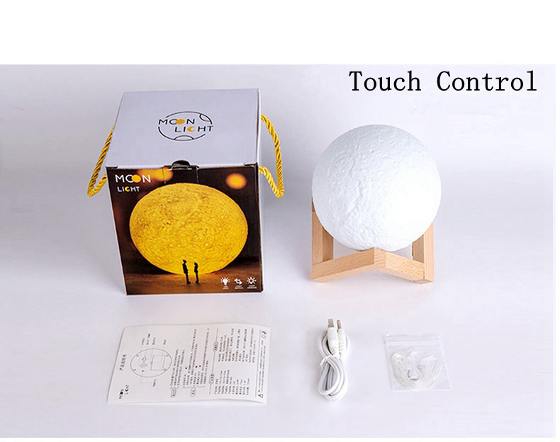 18cm 3D LED Night Light Buletooth Dimmable Touch Moon Lamp