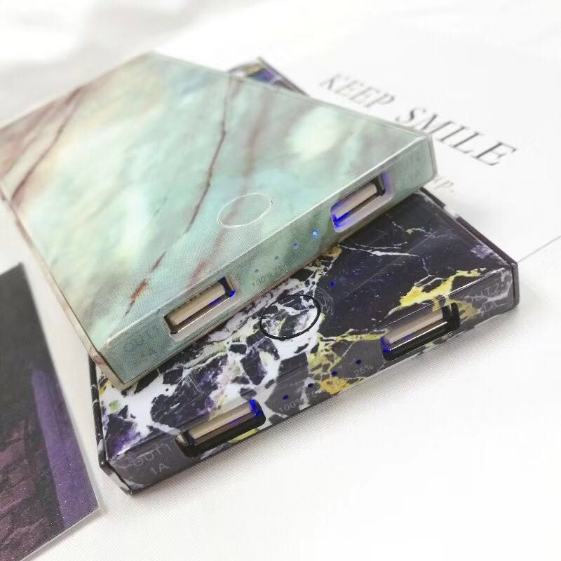 Dual USB Ports Charger High Capacity Marble Power Bank
