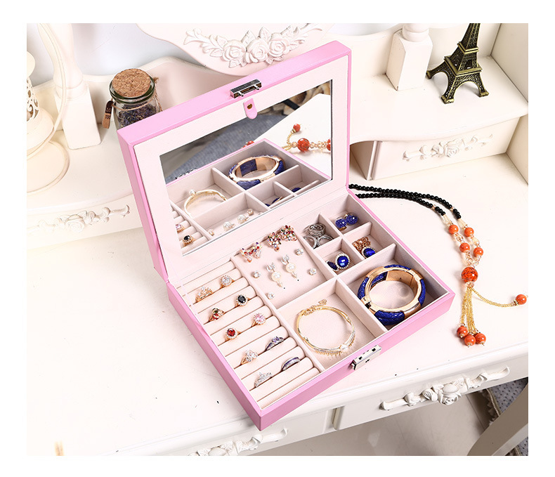 Travel Portable Jewelry Mirror Box For Traveling Women